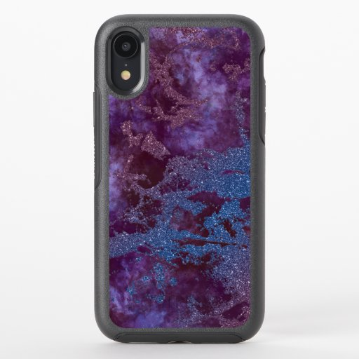 Deep red purple blue ombre glitter marble OtterBox symmetry iPhone XR case