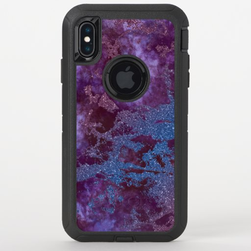 Deep red purple blue ombre glitter marble OtterBox defender iPhone XS max case