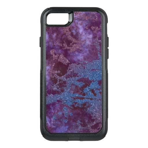 Deep red purple blue ombre glitter marble OtterBox commuter iPhone SE/8/7 case