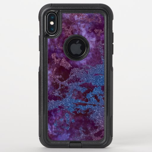 Deep red purple blue ombre glitter marble OtterBox commuter iPhone XS max case