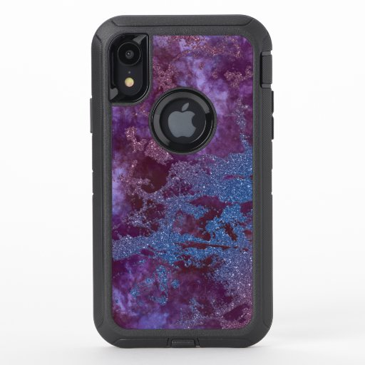 Deep red purple blue ombre glitter marble OtterBox defender iPhone XR case