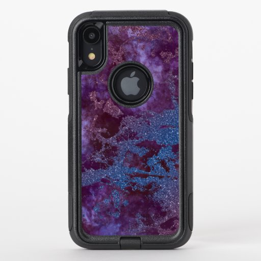 Deep red purple blue ombre glitter marble OtterBox commuter iPhone XR case