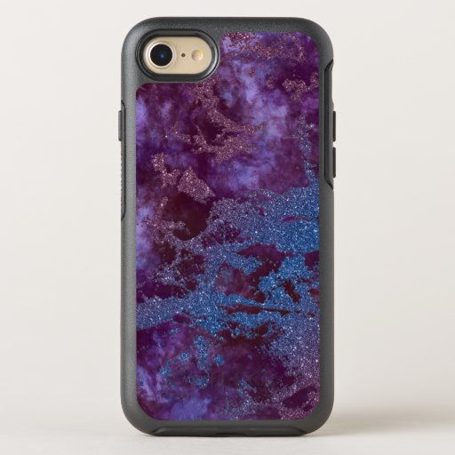 Deep red purple blue ombre glitter marble OtterBox symmetry iPhone SE/8/7 case