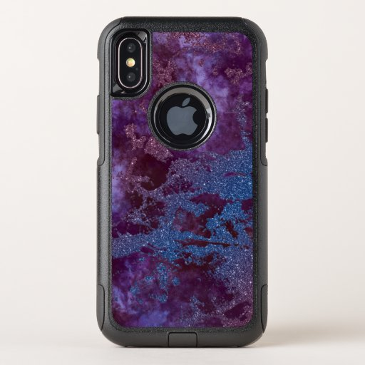 Deep red purple blue ombre glitter marble OtterBox commuter iPhone XS case