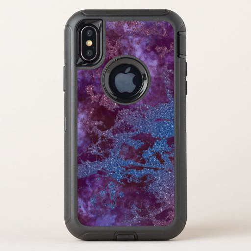 Deep red purple blue ombre glitter marble OtterBox defender iPhone XS case