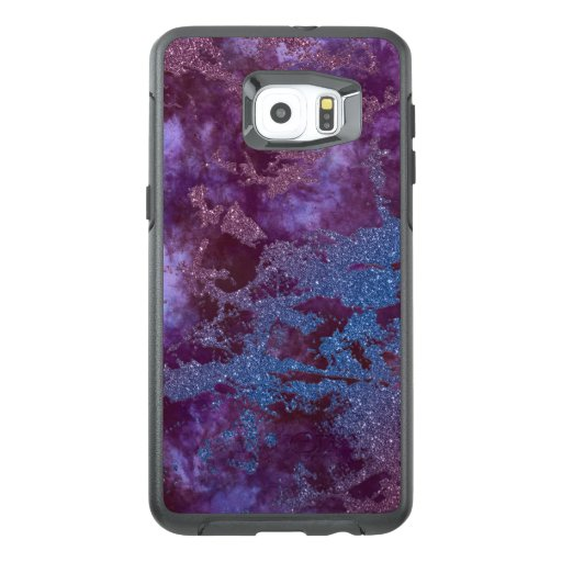Deep red purple blue ombre glitter marble OtterBox samsung galaxy s6 edge plus case