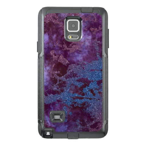Deep red purple blue ombre glitter marble OtterBox samsung note 4 case