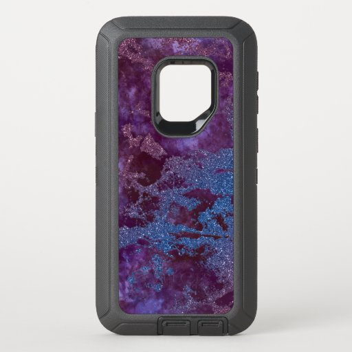 Deep red purple blue ombre glitter marble OtterBox defender samsung galaxy s9 case
