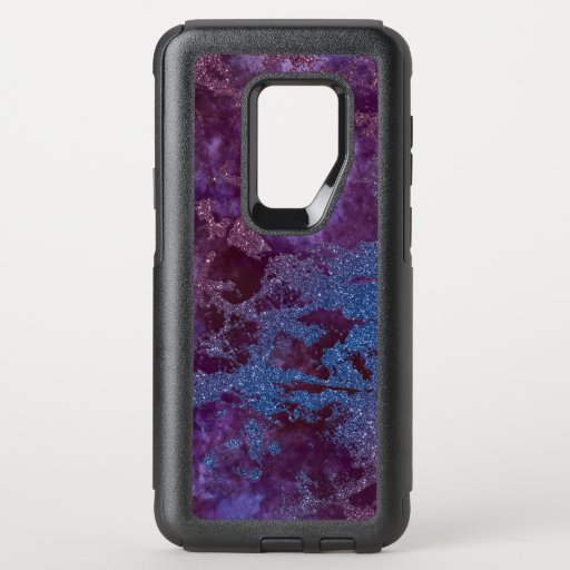 Deep red purple blue ombre glitter marble OtterBox commuter samsung galaxy s9  case
