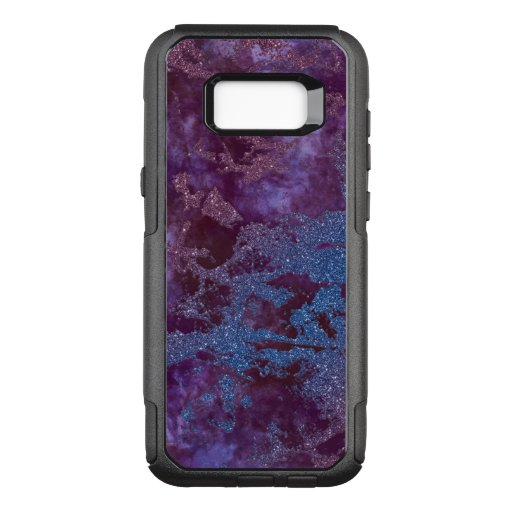 Deep red purple blue ombre glitter marble OtterBox commuter samsung galaxy s8  case