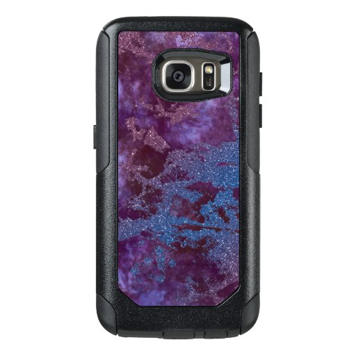 Deep red purple blue ombre glitter marble OtterBox samsung galaxy s7 case