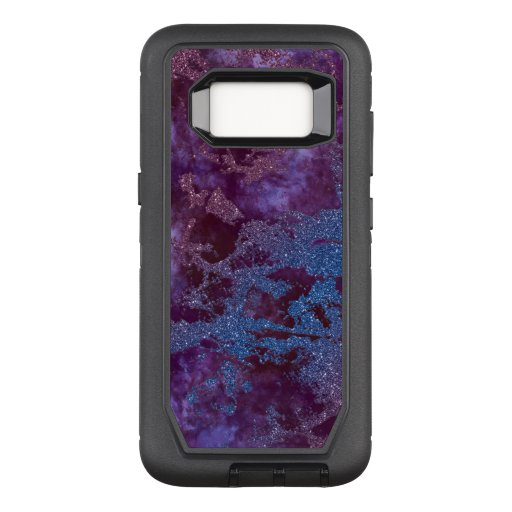 Deep red purple blue ombre glitter marble OtterBox defender samsung galaxy s8 case