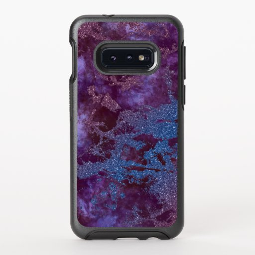 Deep red purple blue ombre glitter marble OtterBox symmetry samsung galaxy s10e case