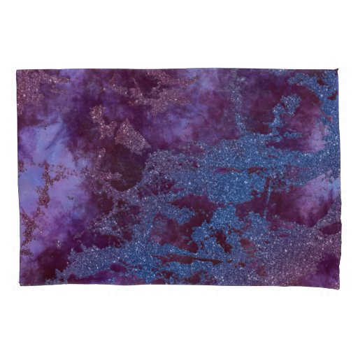 Deep red purple blue ombre glitter marble pillow case