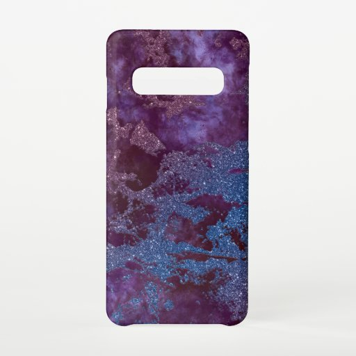 Deep red purple blue ombre glitter marble samsung galaxy s10 case