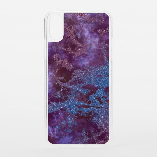 Deep red purple blue ombre glitter marble iPhone XS case
