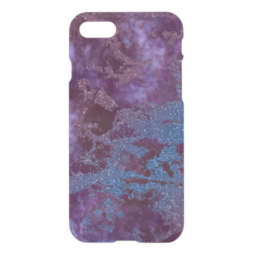 Deep red purple blue ombre glitter marble iPhone SE/8/7 case