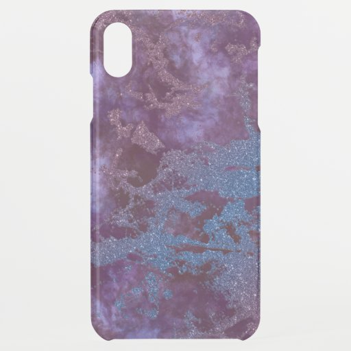 Deep red purple blue ombre glitter marble iPhone XS max case