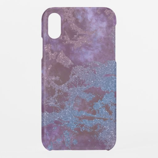 Deep red purple blue ombre glitter marble iPhone XR case