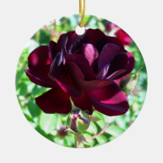 Deep Red Rose and Bud Ornament