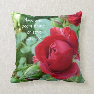 Deep red rose bud pillow