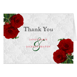 Deep Red Rose Floral Wedding Card
