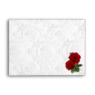 Deep Red Rose Floral Wedding Envelope
