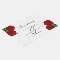 Deep Red Rose Floral Wedding - Guestbook