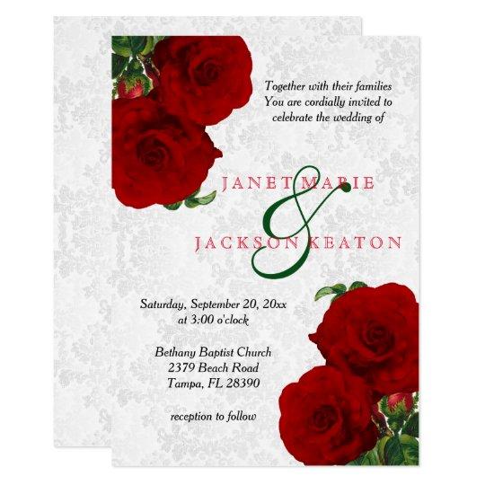 Deep Red Rose Floral Wedding Invitation Zazzlecom