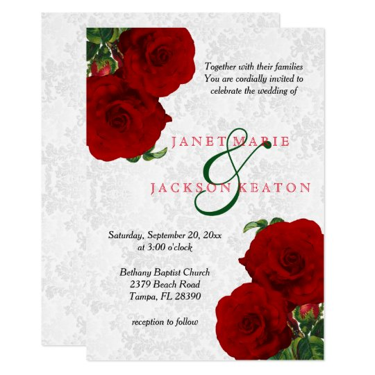deep red rose floral wedding invitation zazzle com