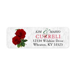 Deep Red Rose Floral Wedding Label