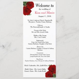 Deep Red Rose Floral Wedding Program