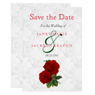 Deep Red Rose Floral Wedding - Save The Date Card