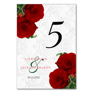 Deep Red Rose Floral Wedding  - Table Card