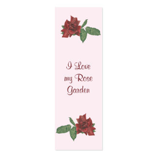 Deep Red Roses Mini Book Marks Double-Sided Mini Business Cards (Pack Of 20)