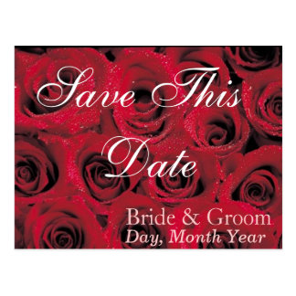 Deep Red Roses Save the Date Postcard 1