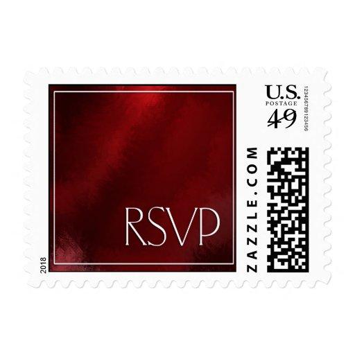 Deep Red RSVP Postage Stamp