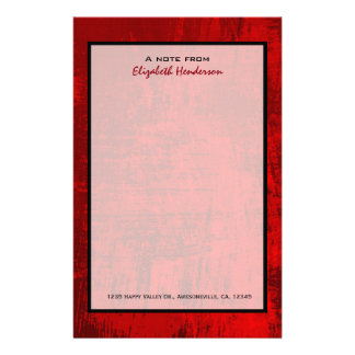 Deep Red Rustic Texture Abstract Background Stationery