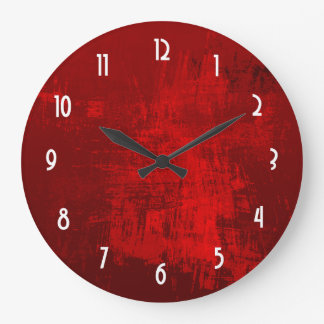 Deep Red RusticTexture Abstract Background Large Clock