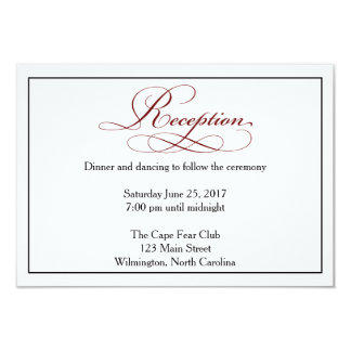 Deep Red Script Wedding Reception Details Card