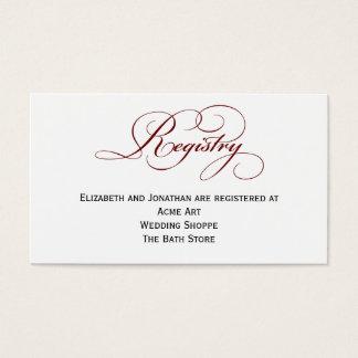 Deep Red Script Wedding Registry Information Card