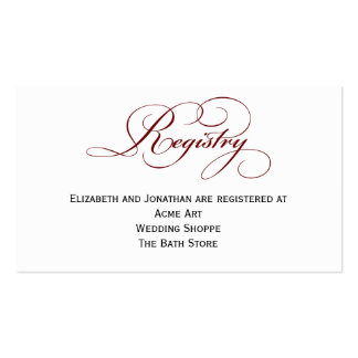 Deep Red Script Wedding Registry Information Card Double-Sided Standard Business Cards (Pack Of 100)