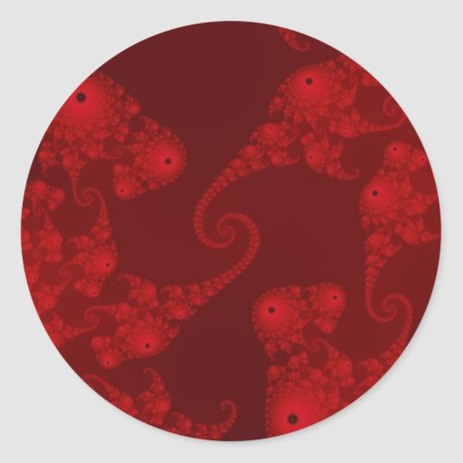 Deep Red Seahorse Herd Stickers