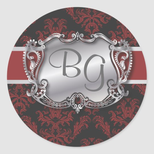 Deep Red & Silver Elegant Wedding Envelope Seal