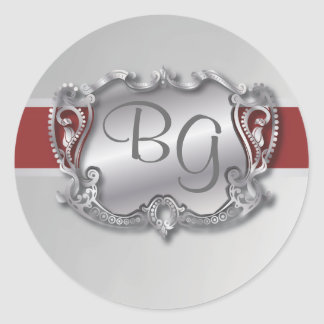 Deep Red & Silver Elegant Wedding Envelope Seal -