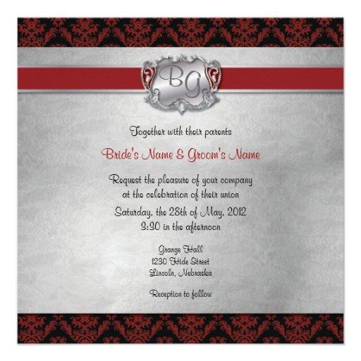 Deep Red & Silver Elegant Wedding Invite - 1-NEW