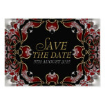 Deep Red+Silver Satin Save the Date Announcement Business Card Templates