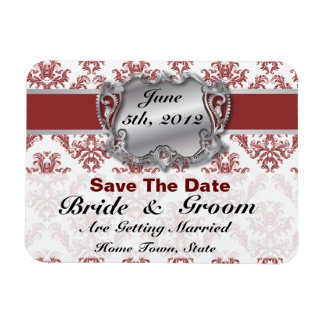Deep Red & Silver - Save The Date Flex Magnet - 2 Rectangular Photo Magnet