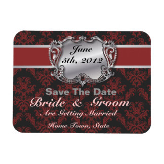 Deep Red & Silver - Save The Date Flex Magnet Rectangular Photo Magnet