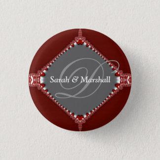 Deep Red+Silver Wedding Monogram Button